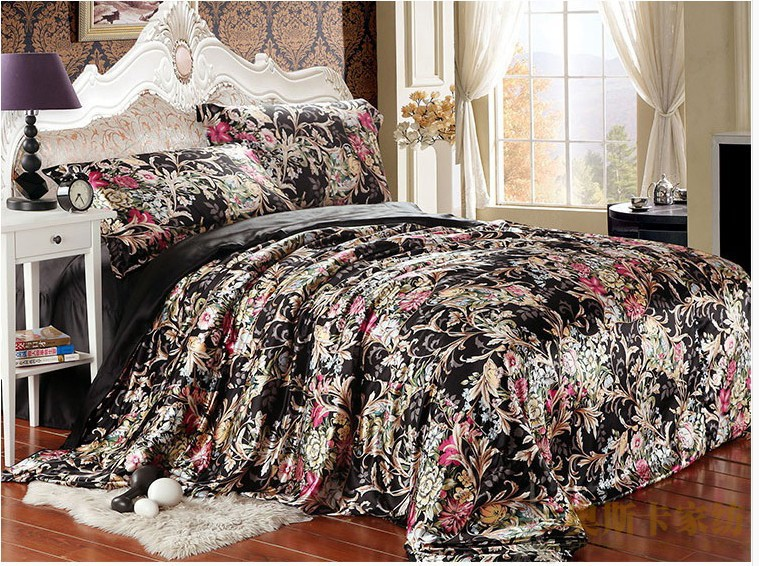 Black Floral Silk Satin Luxury Bedding Comforter Set King