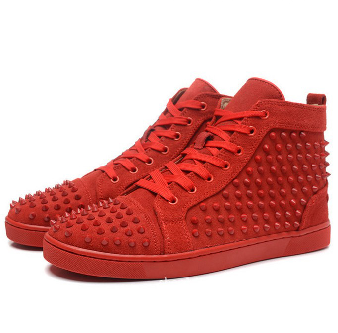 New 2016 Fashion High Top Rivet Lace-up Genuine Leather Casual Shoes Unisex Lovers Brand Designer Men Women Red Bottom Shoes(China (Mainland))