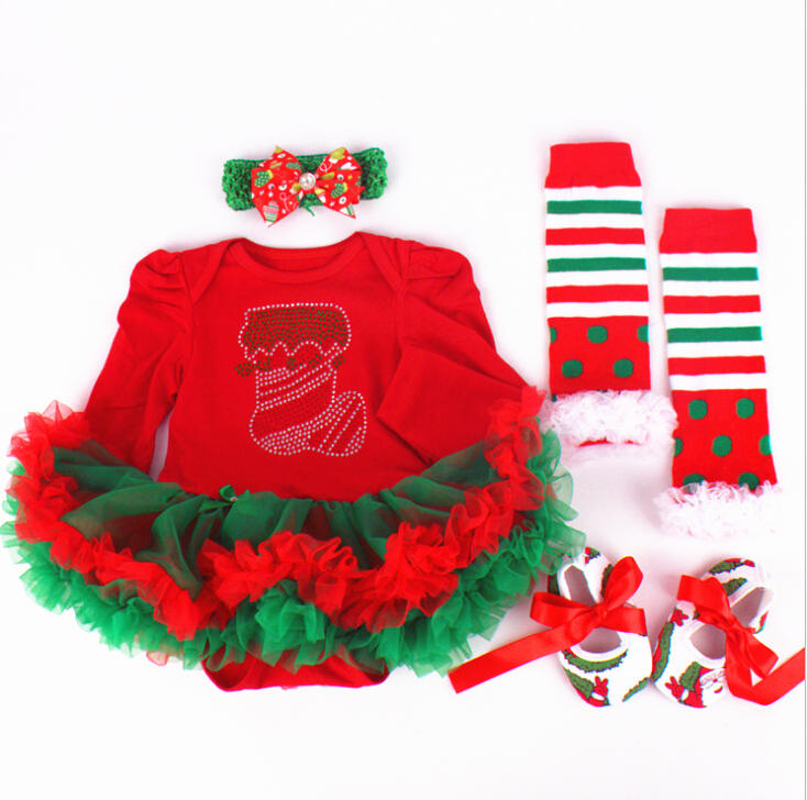 2015 baby christmas clothes Long sleeve o-neck Tutu Dress++Headband+Shoes+Leggings All childrens clothes and accessories<br><br>Aliexpress