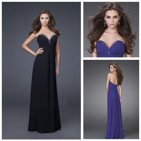 Utterly dream Purple and Black Chiffon Sweetheart Beaded Floor-length Cheap Prom Dresses 2015 Robe De Soiree(China (Mainland))