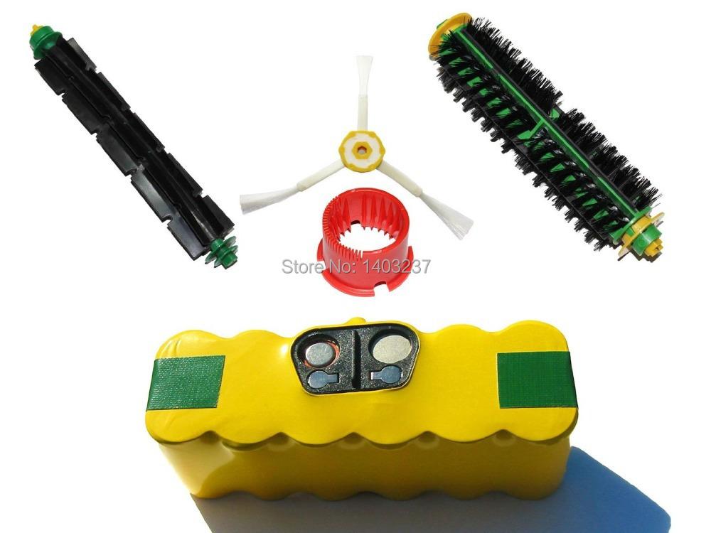 For iRobot Roomba 14.4V NI-MH 3500mAh 551 Battery Bristle Brush and Flexible Beater Brush, 3-Arm Side Brush, Brush Cleaning Tool(China (Mainland))