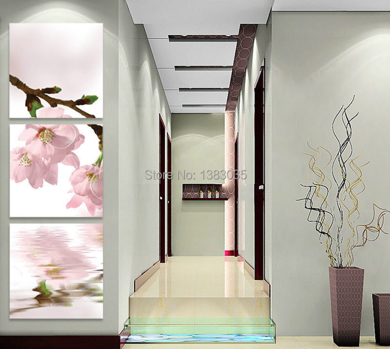 Hand Painted Spring Season Pink Cherry Blossom Canvas Landscape Flower Oil Painting 3pcs Modern Wall Art Home Decor Picture Sets(China (Mainland))