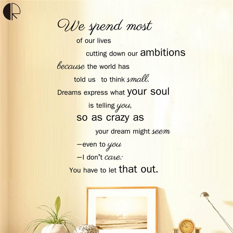 Life philosophy 57x68.5cm Home Decor Wall Stickers PVC Vinyl Walls Decals Poster Mural Sticker Wallpapers for Walls HH1352(China (Mainland))