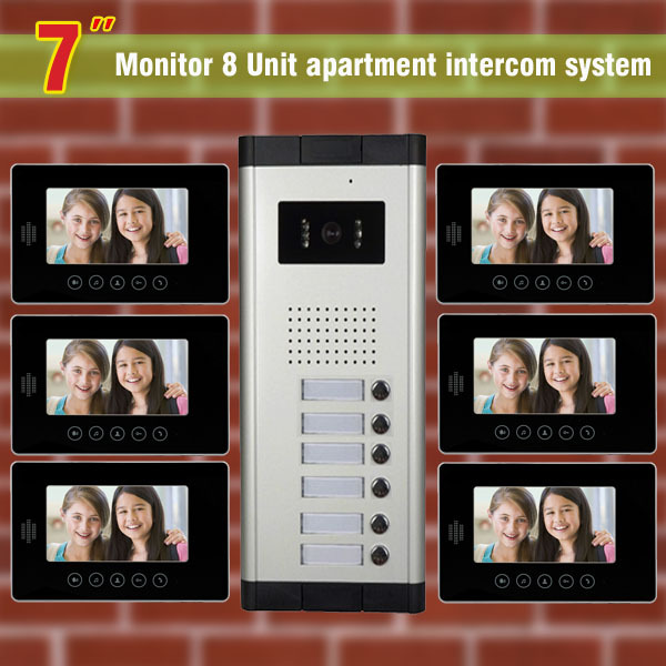 6 Units Apartment Intercom System 7 Inch Video Door Phone Intercom System Apartment Intercom Video Door Bell DoorPhone Doorbell(China (Mainland))