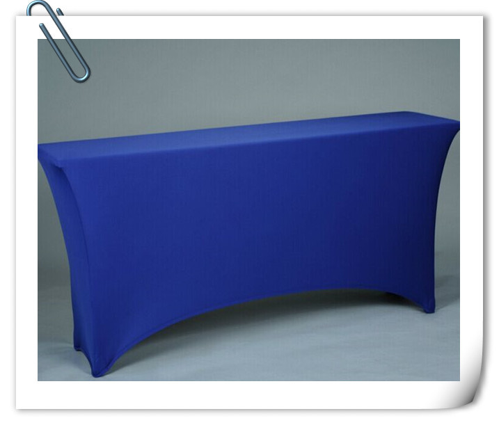 Free Shipping 10pcs 6ft Blue Rectangle Lycra Stretch Spandex Table Cloths Elastic Wedding Table Covers(China (Mainland))