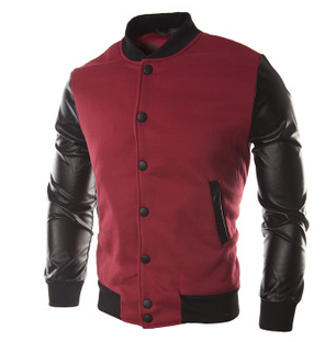 New Men 2015 Sweater PU Leather Collar Sweater Personalized Baseball Stitching Clothes Man Jacket Plus Size M-4XL Wine Red Navy(China (Mainland))