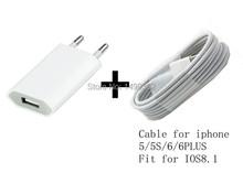 Per iphone 6 più 5/5 s/5c caricatori di potere adapter e usb di ricarica cavo del caricatore (bianco) trasporto di accessori per telefoni cellulari  (China (Mainland))
