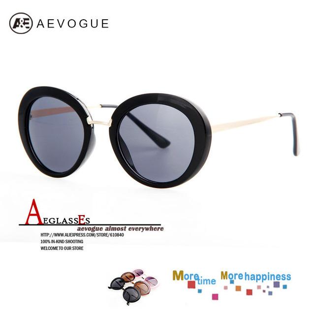 Aevogue большой овальная рама винтажный марка солнечные очки женщины очки солнцезащитные очки металл храм UV400 AE0190