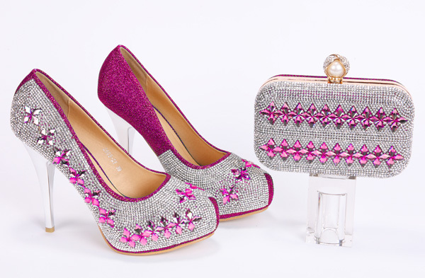 italian shoes matching bags Full Stones wedding/party fushia pink women pumps high heels stone - Guangzhou Top-One Import & Export Co., Ltd. store