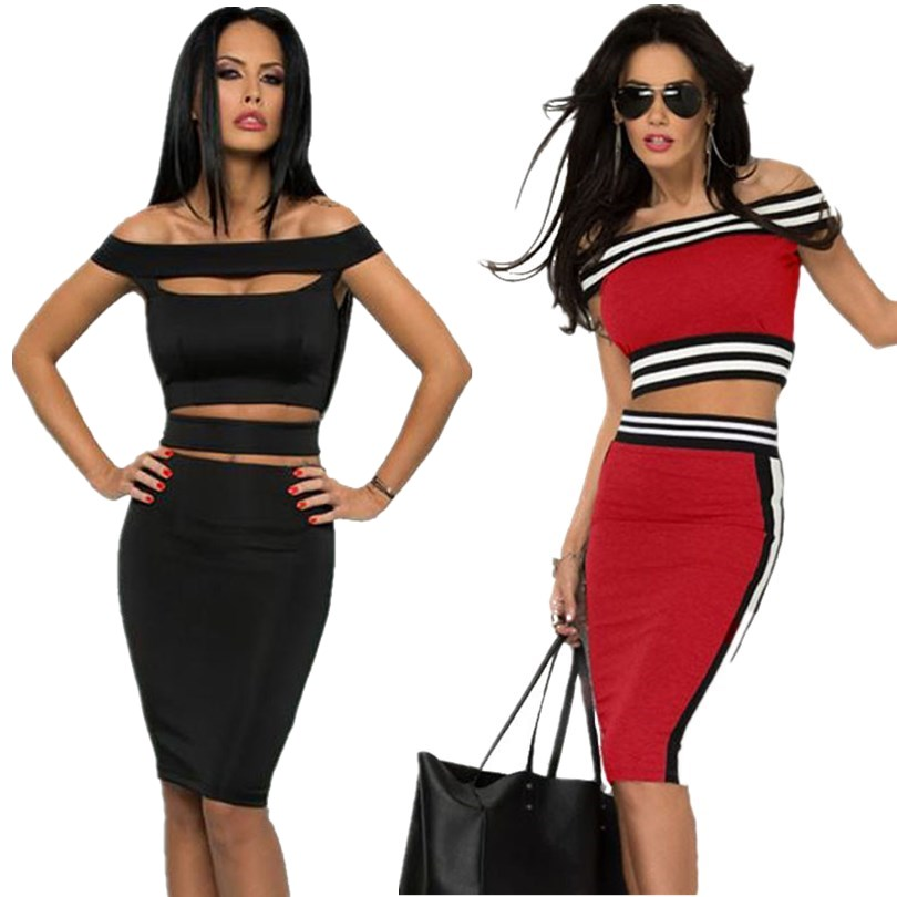 Women Casual Sport Midi Strapless Sexy Two Piece Dress Set Hollow Out Bandage Knee Length 2 Piece Outfits 2015 Summer Sexy Dress(China (Mainland))