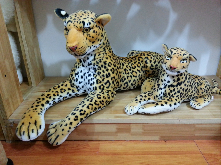 Free shipping New Stuffed Plush Animal Toy Doll Simulation Leopard Lying Large 80cm Children's gift Home decoration High quality(China (Mainland))
