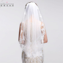 Velos de Noiva Short One Layer Lace Edge White Ivory Wedding Veil Tulle Bridal Veil Cheap Wedding Accessories Voile Mariage(China (Mainland))