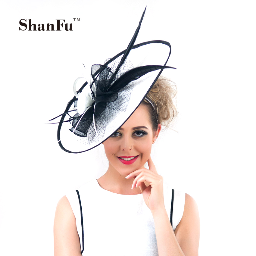 ShanFu Vintage Large Wedding Hats White Feather Fascinators Headband for Women Tea Party tocados sombreros bodas SFC12390(China (Mainland))