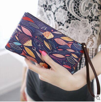 fashion Leaves fish pattern long women girl bolsa carteira feminina femme wallets top handbag phone bags zip clutch purse wallet<br><br>Aliexpress