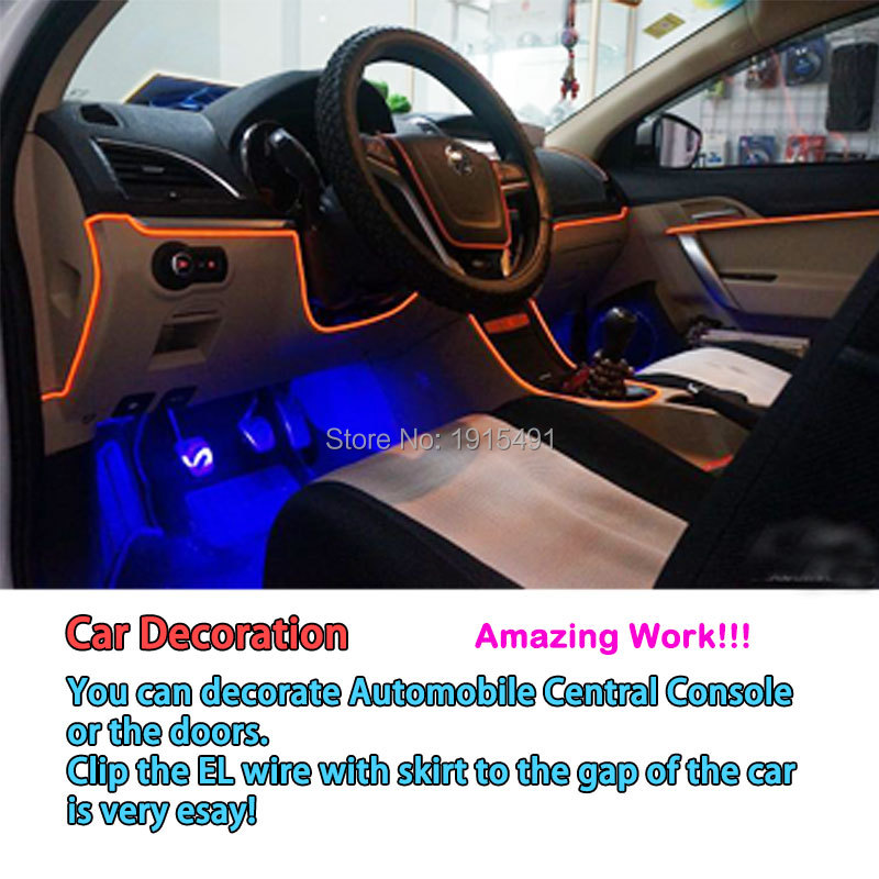 1m-5m Flexible Car EL Wire Neon Light Dance Festival Led strip EL lights With DC-12V Driver 2.3 MM with 6 MM sewing edge