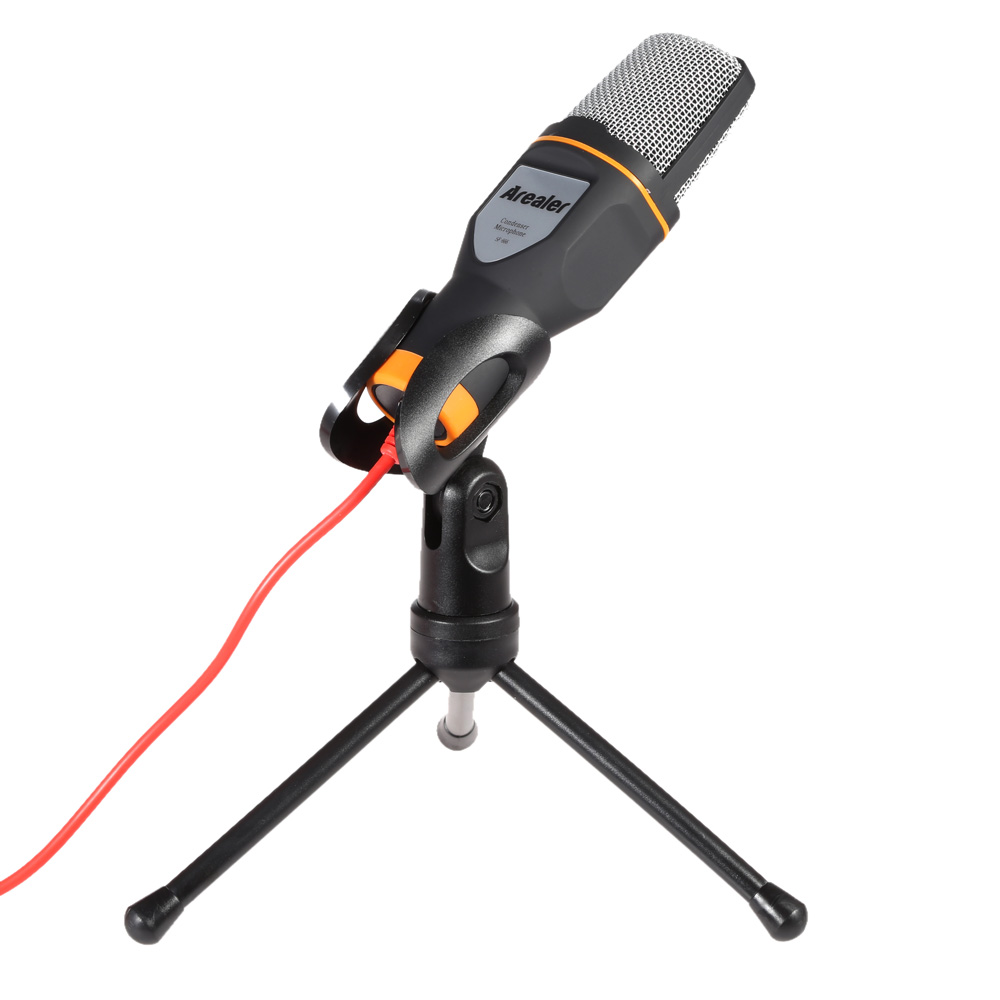 Arealer Professional 3.5mm Wired Stereo Handheld Studio Condenser Microphone with Clip Holder Stand Tripod KTV Club Singing Mic(China (Mainland))