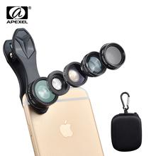 Buy APEXEL 5 1 HD Camera Lens Kit iPhone 5s/6/6s Plus case Samsung Galaxy S7/j5 xiaomi redmi 4 pro xiaomi note 3/note 4 for $11.14 in AliExpress store
