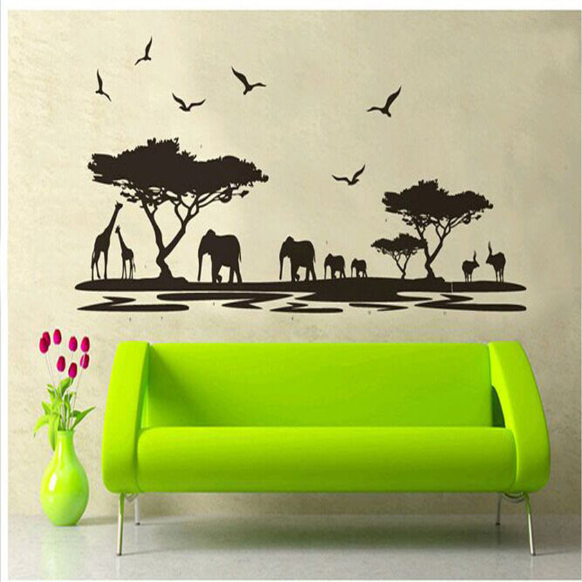 High Quality <font><b>African</b></font> Animals Removable Wall Stickers Art Decals Mural for Room <font><b>Decor</b></font> Free Shipping 12.10