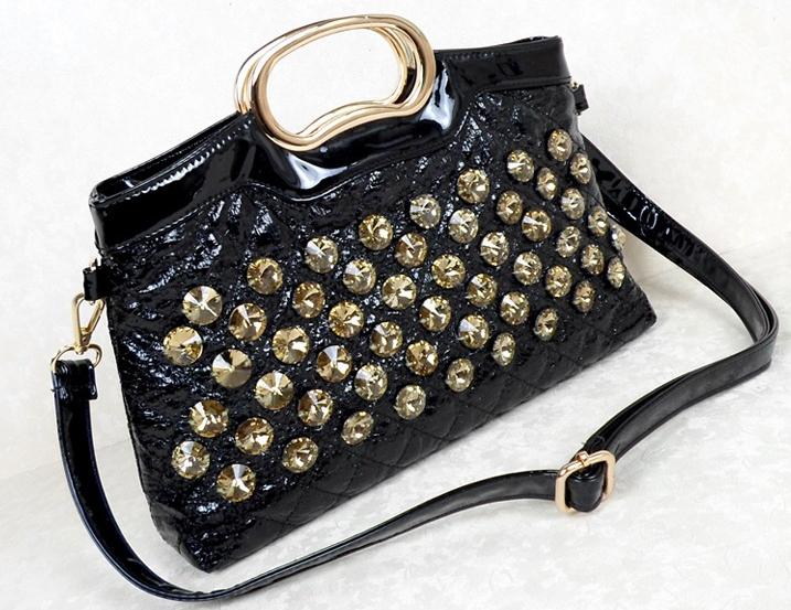 2014 new Black Tyrant Golden women handbag  fashion diamond bag PU leather bag Luxury! Hot sale! Free shipping!  Five star <br><br>Aliexpress