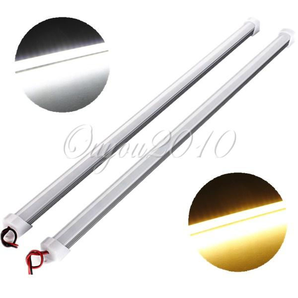 Hot Sale 50cm 5630 SMD 36 LED Waterproof Hard Rigid Strip Cabinet Bar Light White/Warm White With Cover 12V Wholesale Ship Free(China (Mainland))