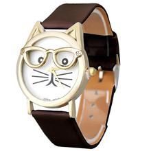 Hot Marketing  Cute Glasses Cat Women Analog Quartz Dial Wrist Watch Jun7