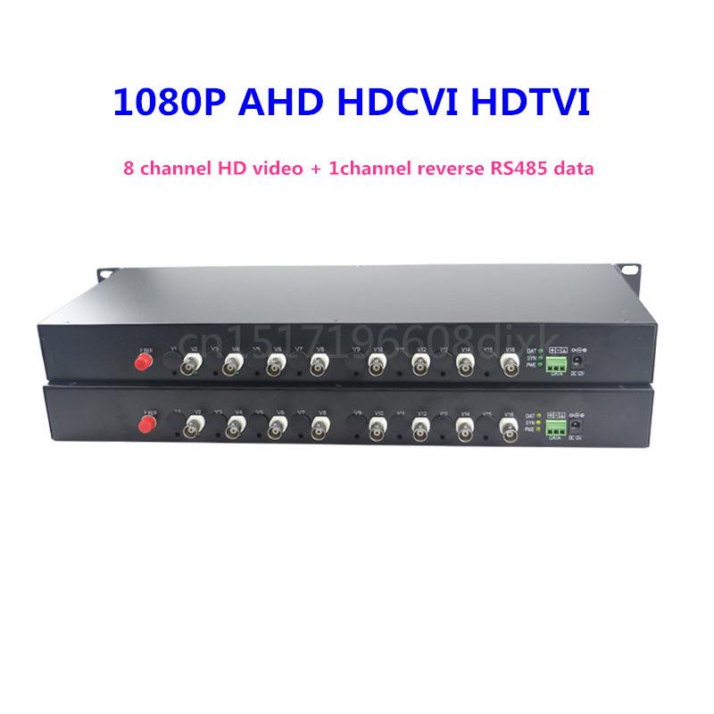 1080P HD video AHD CVI TVI Fiber optical converter, 8-CH Video Optical with reverse RS485 data(China (Mainland))