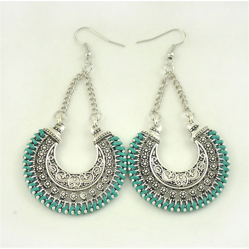 2016 new design bohemian earing fashion jewelry turkey style colors turquoise lovely lace retro Design and style fashion jewelry