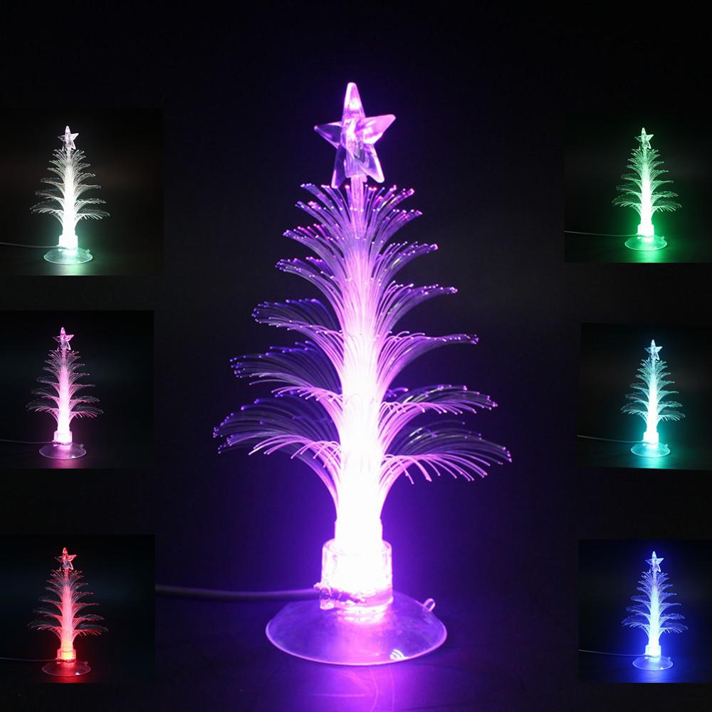 Christmas tree night light usb fiber rgb color changing for Color changing christmas tree lights