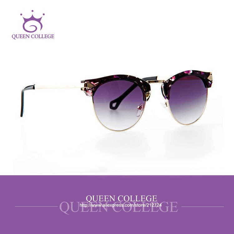 Queen College Free shipping cat eye brand sunglasses women Top quality sun glasses Half frame Arrow Decoration UV400 QC0161Одежда и ак�е��уары<br><br><br>Aliexpress