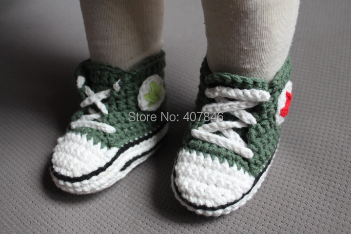 1pair Baby crochet sneakers tennis booties sport first walker star shoes colorful cotton yarn 0-12M(China (Mainland))