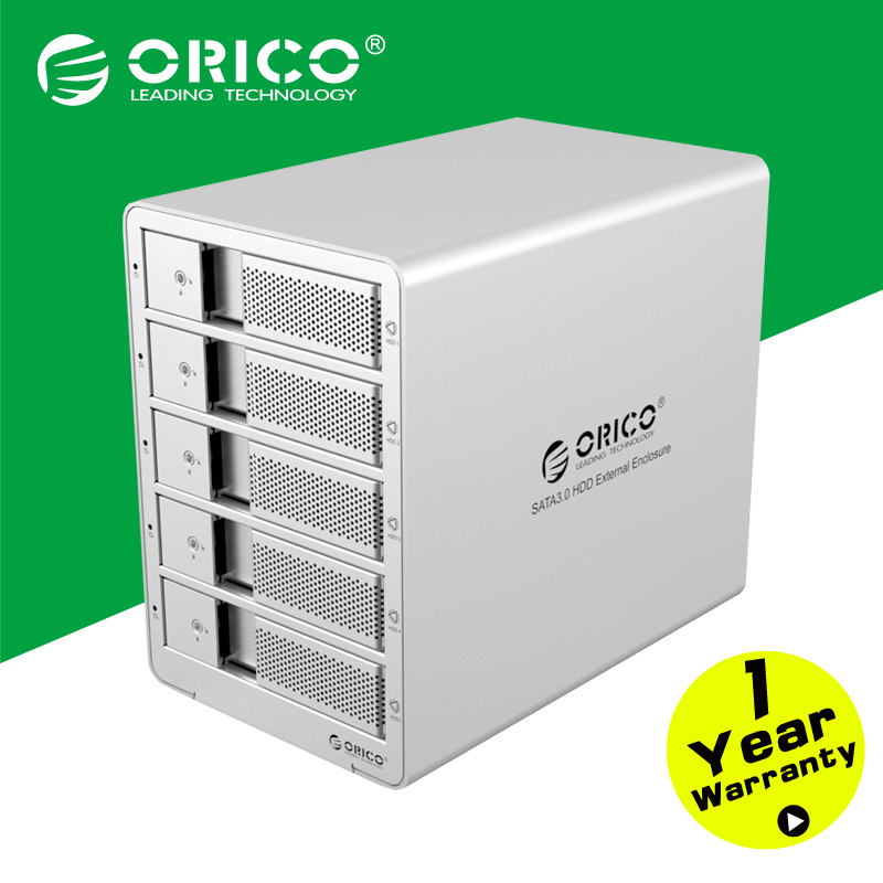 ORICO 9558U3-SV 5-bay 3.5 USB3.0 ESATA  HDD Enclosure HDD Docking Station Case for Laptop PC (Silver)<br><br>Aliexpress