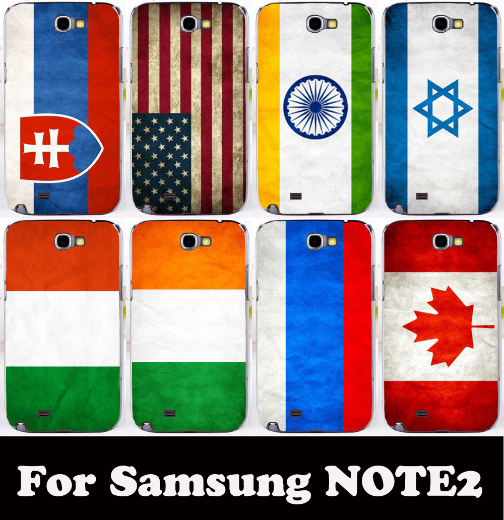 USA America India Israel Italy Ireland Canada Russia National Flag cover case for Samsung galaxy Note II Note 2 Note2 N7100(China (Mainland))
