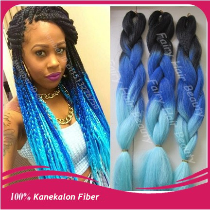 "Stock Cheap price 20"" three tone color kanekalon synthetic hair super jumbo braid free shipping(China (Mainland))"