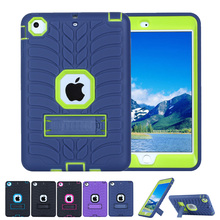 Kickstand Silicone Case for iPad Mini 2/3/1 Kids Safe Cover Luxury Shockproof 360 Protective Armor Defender Hard Case Protector(China (Mainland))