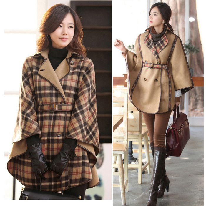 Euro/Americal Fashion Brand 2014 2015 Winter women plaid woolen cloak outerwear plus size loose reversible overcoat trench - Joyful Shop store