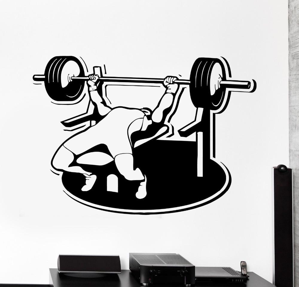 Wall Sticker Sport Bodybuilding Bench Press Barbell Athlete Vinyl Decal(China (Mainland))
