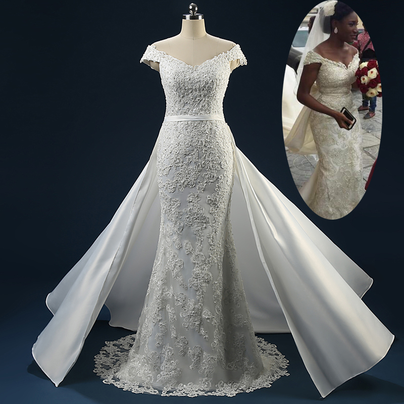 Sexy100 real photo mermaid detachable train appliqued for Mermaid wedding dress with detachable train