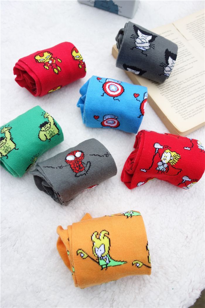 Unisex Crew Socks Superhero Hulk/Spider-Man/Captain America/Batman/Loki/Superman/Iron Man/Thor  -  Cherry_Cherry store