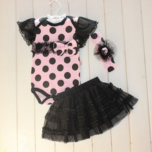 Retail Baby Clothing Set Baby Girl Clothes 3 pcs Sets Romper Tutu Skirt Headband 3pcs Sets