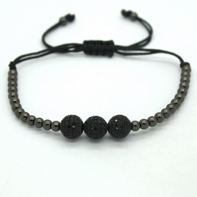 Famous Brand Men Bracelets 8mm Pave Setting Black CZ Beads 24K Gold 4mm Round Beads Braiding