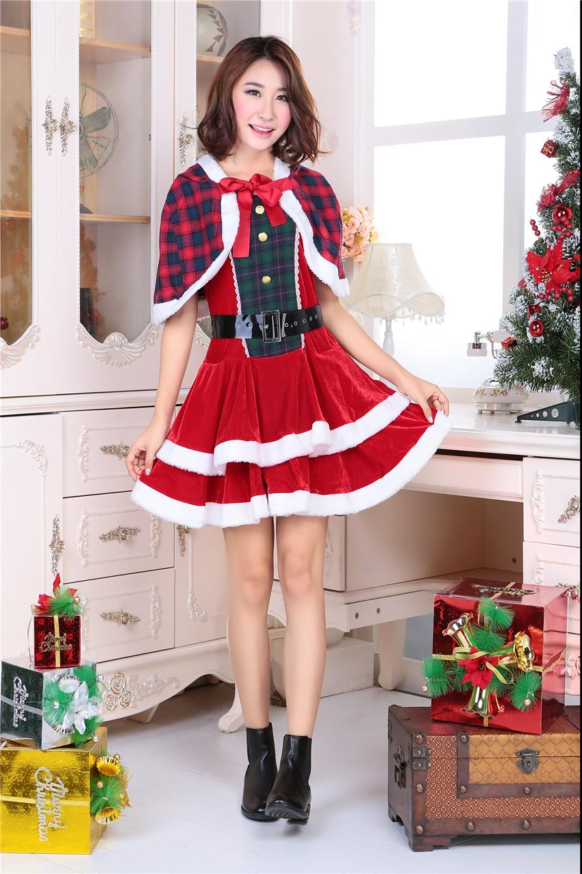 3 pieces Sexy Christmas Costume Christmas Dress Wholesale & Retail,Velvet Santa Costume(China (Mainland))