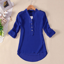 Attractive 1PC Women Spring Summer V-Neck Chiffon Long Sleeve Casual Shirt Blouse JY2(China (Mainland))