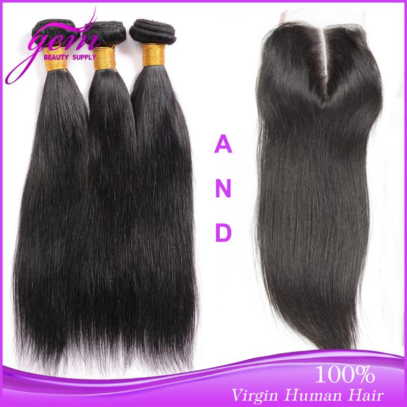 Гаджет  Brazilian Virgin Hair With Closure Rosa Brazilian Straight Hair 3/4 bundles with 1pc closure Vip Beauty Hair Cheap Virgin Hair None Волосы и аксессуары