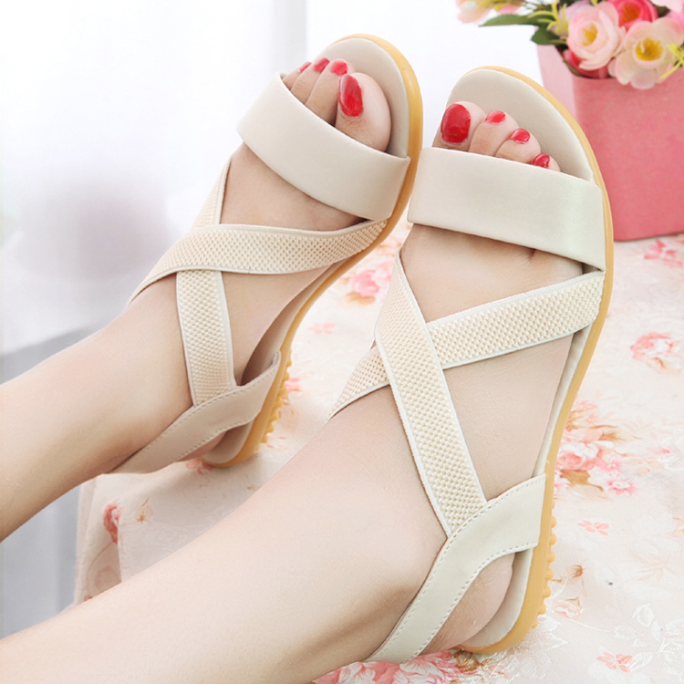 Sandalias Mujer Casual Concise Wedge Sandals Gladiator Women's Shoes Summer Cross Tied Open Toe Elastic Band Shoes Woman Sandals(China (Mainland))