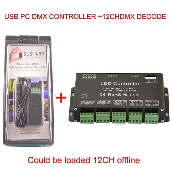 France 12 channel Easy DMX LED controller;dmx decoder&amp; driver and USB DMX PC Controller Could be loaded 12CH offline<br><br>Aliexpress