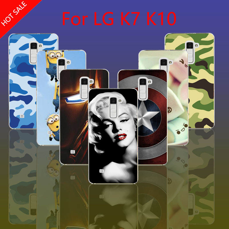 Leopard Despicable Me Marilyn Monroe Audrey Hepburn Transparent Hard Cover Cell Phone Case For LG K7 & K10(China (Mainland))