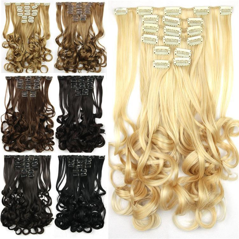 1SET 23inch/60cm 135g Hair Extensions Synthetic Curly 8pcs Set Clip in Hair Extensions 7Colors/Multi Color Hairpiece