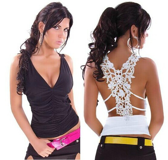 new fashion summer style lace sexy v-neck plus size casual t shirt women crop top tank blusas femininas 2015 camisole tops(China (Mainland))