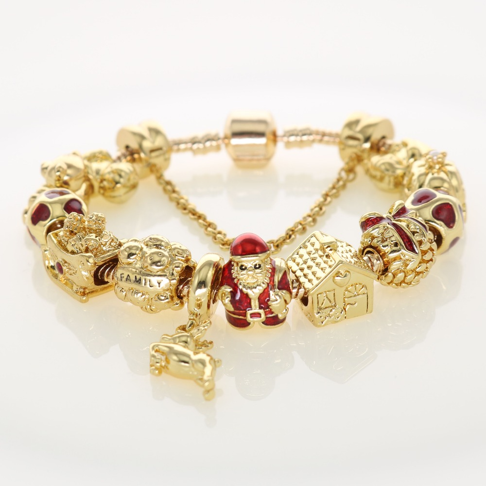 Christmas Gifts Gold Plating Charm Bracelets Family Santa Claus Father  House Gold Charms For Holiday Jewelry Men Women Bracelets