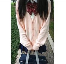 Women Long Sleeves Black Students School Uniform Japanese Style Girl Cute Open Cardigan V-Neck Knitted Cosplay Clothes Sweater(China (Mainland))